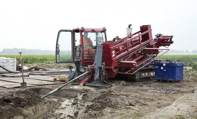 Construction of water pipeline in Amsterdam, Netherlands