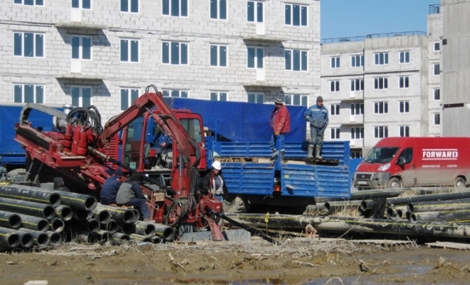 Construction of water pipeline in St. Petersburg, Russia