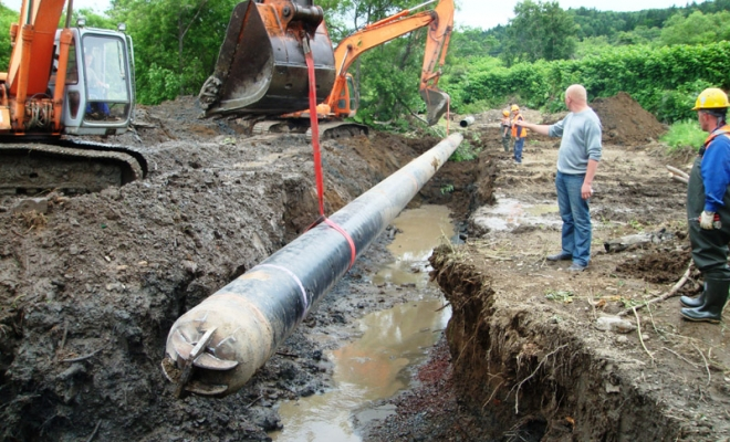 Construction of water pipeline in Sakhalin